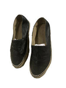 CHANEL Camel + Black Lambskin  Leather Espadrilles - Shoes -Size 41 or US 9.5/10