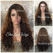 Long Wavy Medium Auburn Lace Front Wig Dark Roots Bangs Layered Heat Safe Ok