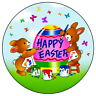 """HAPPY EASTER - 7.5"""" EDIBLE ICING CAKE TOPPER CUTE PAINTING BUNNIES"""