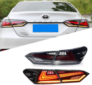 For 2018 2019 2020 Toyota Camry Tail Lights Clear LED 4Pcs Rear Lamps Assembly