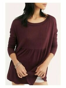 FREE PEOPLE Womens Maroon Long Sleeve Baby Doll Top Size: L