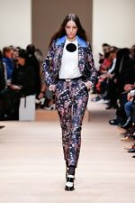 CARVEN Navy Print Brocade Skinny Tab Waist Pants Trousers 36 NEW WITH TAGS $990