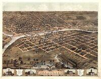 Map Aerial Birds Eye Desmoines Iowa 1868 Canvas Art Print