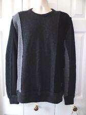 Mens DOLCE GABBANA Virgin Wool Gray/Black Color-block patchwork sweater size  52
