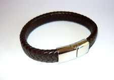 WIDE WOVEN REAL CHOCOLATE BROWN BRAIDED LEATHER BRACELET WITH MAGNETIC CLASP