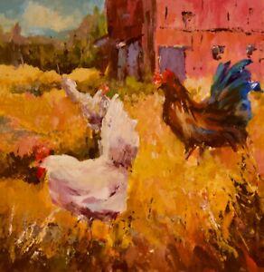 Chicken hen farm barn country farmhouse decor animal acrylic painting 6 x 6