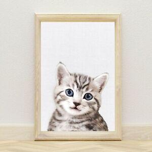 Cat Wall Art Print for Nursery & Kids Bedroom, Pet Animal Wall Décor