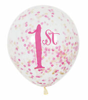 6 x 1st Birthday Age 1 Pink & Gold Confetti Filled Birthday Balloons Party Decor