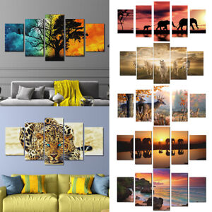 5 Panels Modern Canvas Wall Hanging Picture Printing Art Oil Home Decor UnframJH
