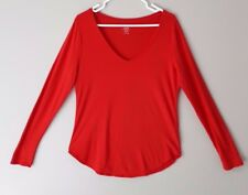 OLD NAVY Women's Relaxed Long Sleeve V-Neck T Shirt Top Red Size Medium