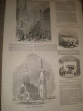 Lombard Street Londres & Fredericton Catedral NB Canadá 1849 Impresiones Antiguas