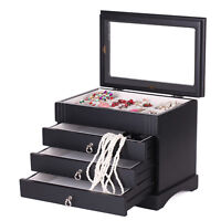 Large Jewellery Wooden Box Glass Top 3 Drawers Ring Necklaces Black Storage Case