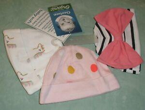 Gerber Organic 3 Pack Hats Newborn Girls Baby Soft Unicorn Bow New NWT