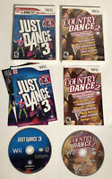 Nintendo Wii Dance Bundle Lot Just Dance 3 & Country Dance 2 w/ Manuals Tested