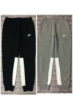 NIKE MENS CHARIOT FLEECE TRACK PANTS GREY WHITE  BLACK PANEL JOGGERS  RRP £55