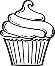Small Cupcake Unmounted Rubber Stamp - 7135