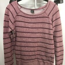 Hollie Woman's M Sweater Long Sleeve Crew Neck Mauve Stripes pink