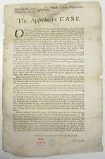 SCARCE BROADSIDE POSTER The Appellants Case Property Estate Dispute Law 1702