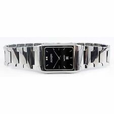 Mens Adajio Tungsten Stainless Steel Watch Rectangle Black Face GR7002M