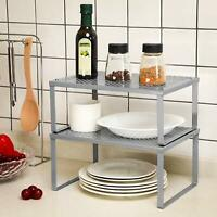 Expandable Organizer NEX Kitchen Cabinet Silver Metal Stackable Counter Shelves