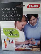 kit de décoration pâtisserie, acon souple,4 flacons + 4 embouts, IBILI