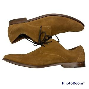 Aldo Brown Suede Leather Oxford Derby Dress Shoes Almond Toe Lace Up Men's Sz 12