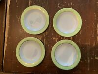 Vintage Pyrex Lime Green With Gold Trim 6.75 Inch Dessert Plate Set Of 4 H
