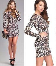 NWT bebe leopard printed zipper long sleeve bodycon cocktail top dress XXS 00 0