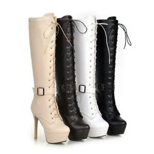 Women Platform Lace Up Winter Boots High Heels Stiletto Knight Knee High Boots D
