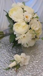 Bride Bouquet Wedding Flowers Ivory Rose , Buttonhole, bridal flowers, gerberas