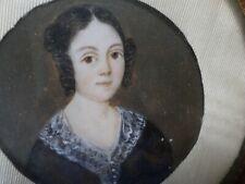 Peinture Miniature-Portrait femme-École française  XIXe -cadre -painting