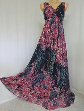 ~ BEAUTIFUL MONSOON GOLDIE MAXI DRESS SIZE 16 NAVY BLUE PINK FLORAL OCCASION ~