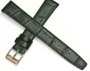 EASY FIT CLIP ON OPEN ENDED GENUINE LEATHER WATCH STRAP BLACK 12MM to 20MM