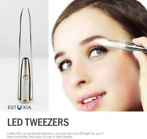 2x Professional LED Eyebrow Tweezers Hair Beauty Silver Stainless Steel Tweezers