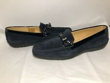 Tremp Italy Blues  suede Moccasin shoes woman sz 7.5-8 Italian Leather