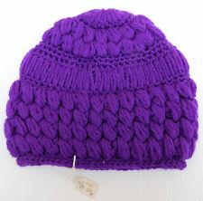 Vintage crocheted hat UNUSED bright purple girls children teenagers 1960s 1970s