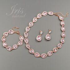Rose Gold GP Pink Crystal Necklace Earrings Bracelet Wedding Jewelry Set 1829
