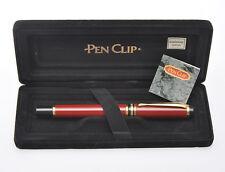 Pen Clip, penna stilo vintage rosso mattone, inusata in box