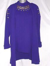 Zone West Women Size 16 Purple Studded Sweater Set 1980's Classic Not Worn New