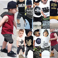 2PCS Toddler Kids Baby Boy T-shirt Tops Pants Trouser Outfits Casual Clothes Set