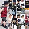 Baby Kinder Jungen Kleidung T-shirt Tops + Lang Hosen Shorts Sommer Outfits Set