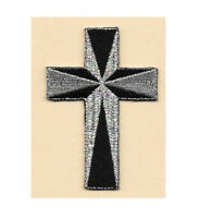 "Cross - Christian - Embroidered Black/Silver Iron On Applique Patch - 3""H"
