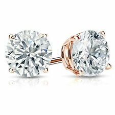 14k Pink Gold .15 Carat SI1 Clarity H Color Diamond Stud 4 Prong Set Earrings