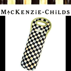 MacKenzie Childs NEW Courtly Check Wine Tote 15 x 6 Black Ivory Lined SEALED PKG