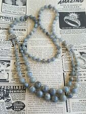 Flashy labradorite graduated beaded 2 strand sterling silver necklace