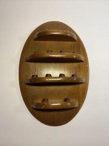 Vintage Oval Walnut Enesco 12 Thimble Every Month Year Display Wall Shelf B14