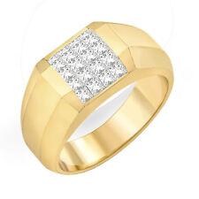 0.76Ct Princess Diamond Wedding Invisible Set Ring 14k Gold Yellow G VS2 9.65mm