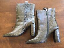 NEW Anthropologie Bruno Premi Women's Size 7.5 Crocodile Zip Up Ankle Boot Green