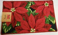 "PRINTED NYLON KITCHEN RUG (18""x30"") RED CHRISTMAS FLOWERS, POINSETTIA, Daniel"