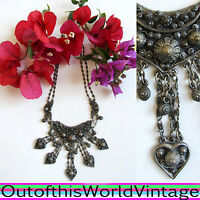 Antique VICTORIAN ETRUSCAN SILVER NECKLACE 1800s Heavy Ornate Encrusted Charms